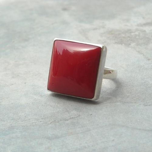 Red coral ring Square rings