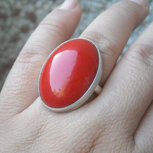 Red coral ring oval cabochon