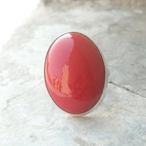 Buy Red Coral Ring Oval Cabochon Sterling Silver Gemstone