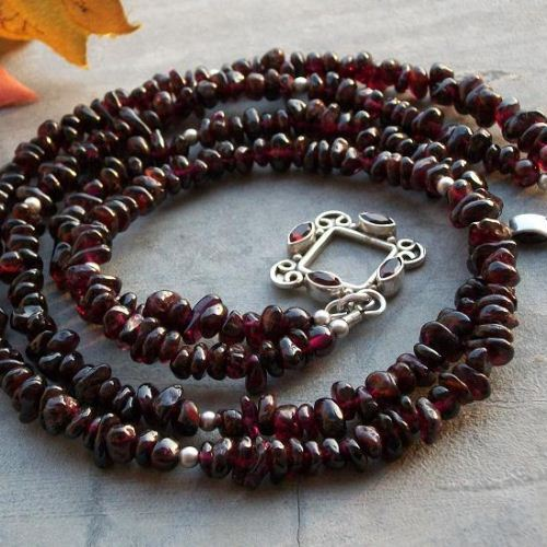 Red garnet necklace Silver necklace