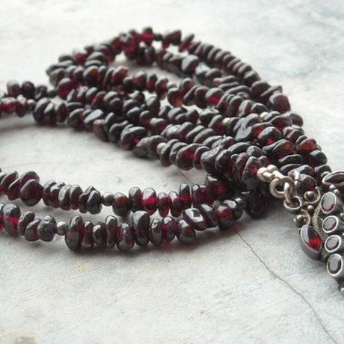 Red garnet necklace beaded necklace