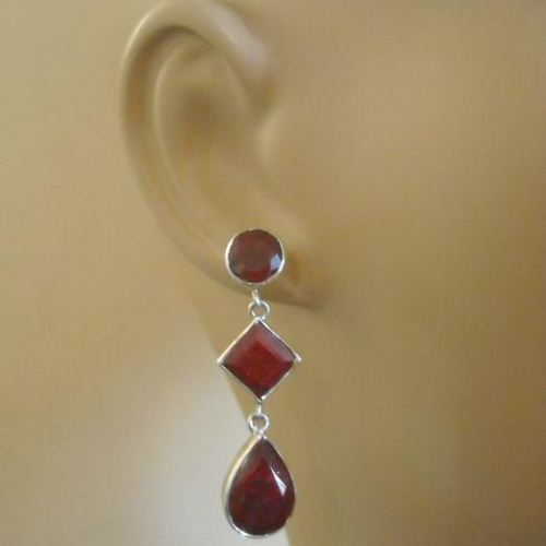 Red Ruby Dangle Earrings Natural Sterling Silver