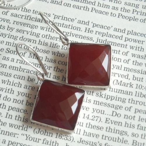 Reddish brown chalcedony earrings Sterling