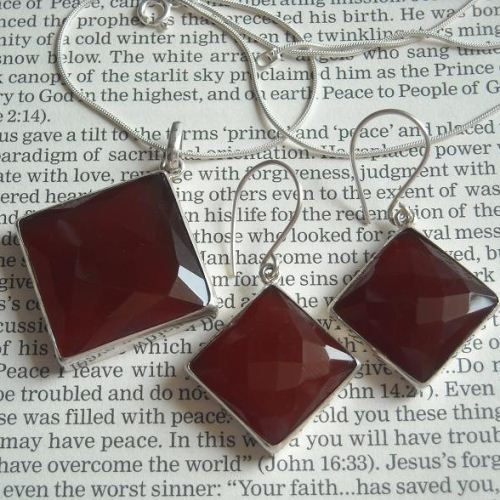 Buy Reddish Brown Chalcedony Earrings Sterling Silver
