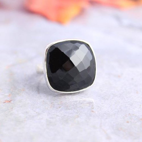 Buy Rock Star Rings Faceted Black Onyx Ring 925 Silver