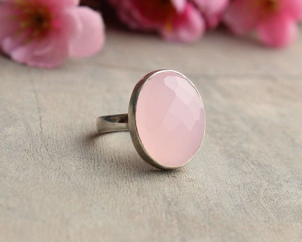Rose quartz ring Sterling silver