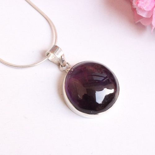 Buy round amethyst pendant february birthstone round silver pendant round amethyst pendant february birthstone round silver pendant aloadofball Image collections