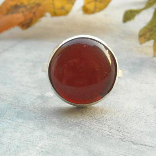 Round cab ring red carnelian