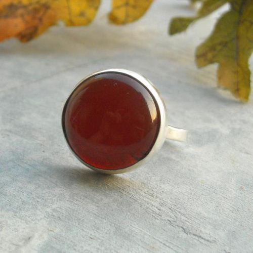 Buy Round Cab Ring Red Carnelian Artisan Silver Cabochon