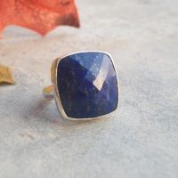 Royal blue ring - Ring denim - Square lapis ring - Denim lapis rings