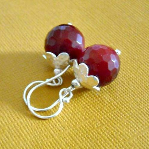 Royal ruby quartz sterling silver gemstone earrings