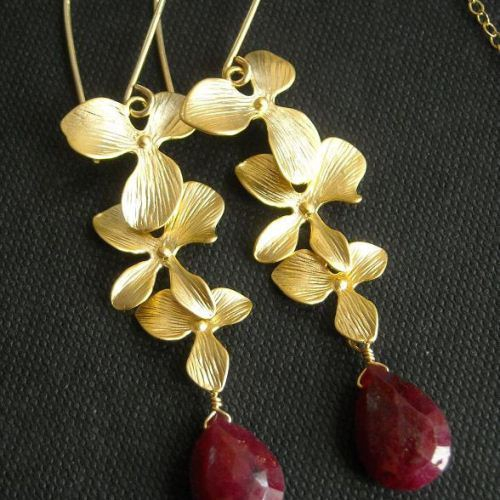 Ruby earrings Gemstone Bridal Earrings
