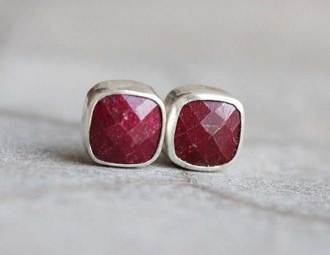 Ruby earrings Ruby stud earrings