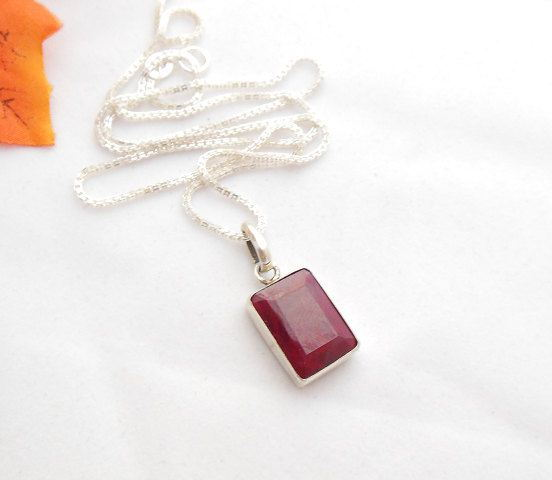 Ruby pendant Red pendant Bezel