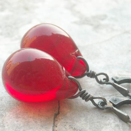 Ruby red earrings Glass earrings