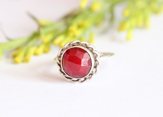 Ruby ring Round red July