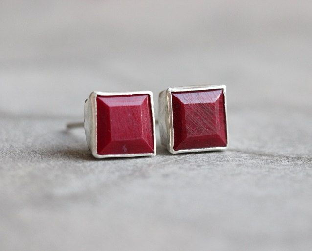 Ruby Stud Earrings Square Silver Red Studs Online At Astudio1980
