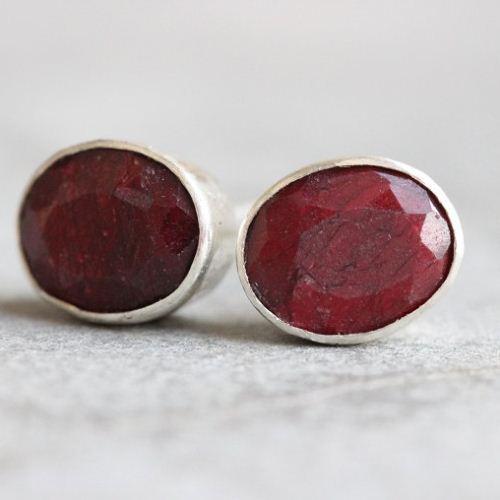 Ruby Stud Earrings Red Oval Silver Studs
