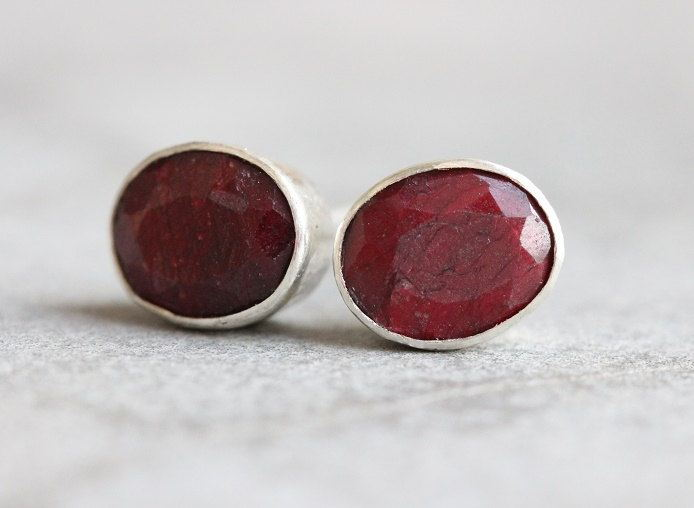 Ruby Stud Earrings Red Oval Silver Studs Online At Astudio1980