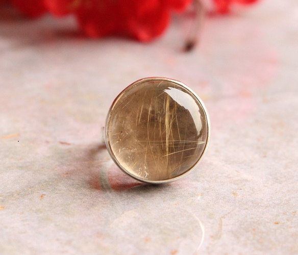 Rutil Quartz ring round ring