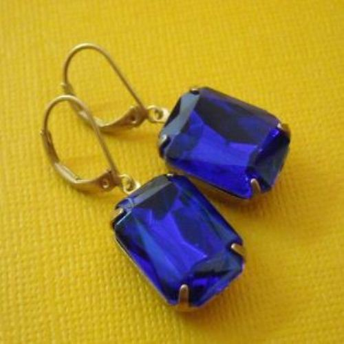 Sapphire Vintage blue facted glass Vintage golden Brass earrings