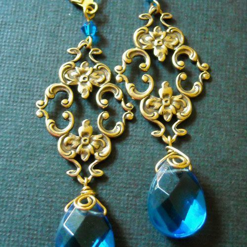 Shire Blue Color Vintage Golden Br Earrings Online At Astudio1980