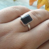 Sapphire ring - Bezel ring - Handmade silver ring - Rectangular ring
