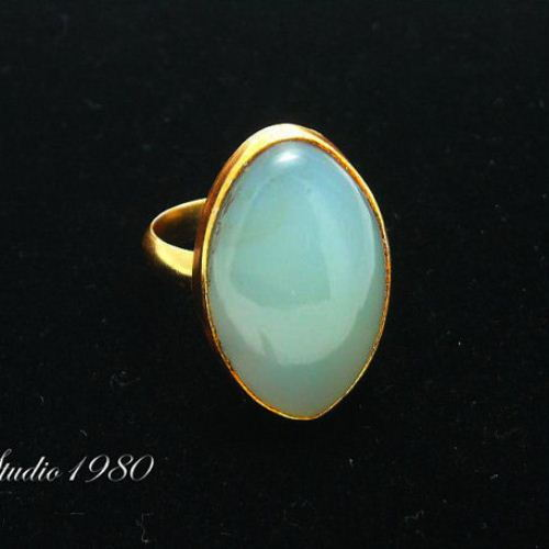Sea foam blue Chalcedony ring