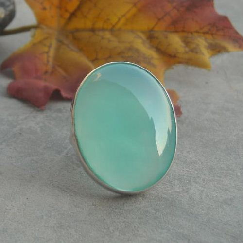 Sea foam green Chalcedony Ring