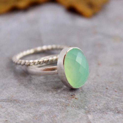 Sea foam green ring Chalcedony