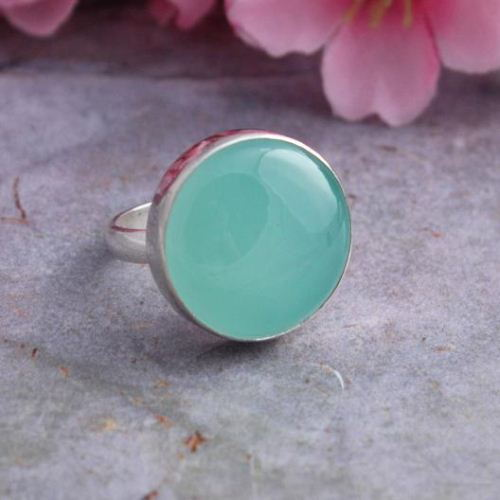 buy sea foam green ring chalcedony ring sterling silver cabochon