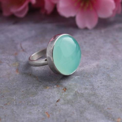 Buy Sea Foam Green Ring Chalcedony Ring Sterling