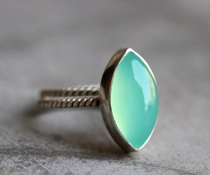 Buy Sea Foam Green Ring Chalcedony Sterling Silver Ring