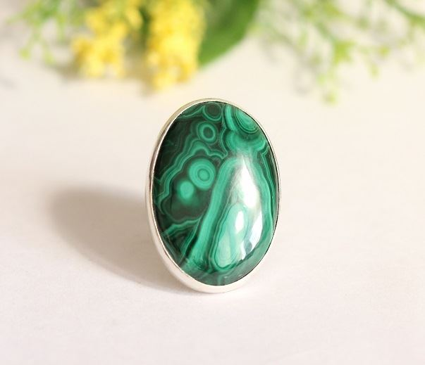 Silver Malachite Ring Artisan jewelry