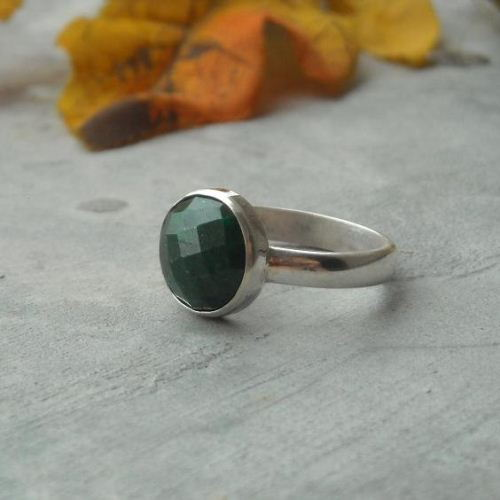 Emerald ring sterling silver Handmade