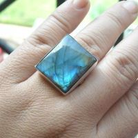 Silver labradorite ring - square stone rings - natural gemstone ring