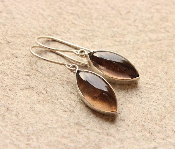 Buy Smoky Quartz Earrings Drop Earrings Brown Stone Silver