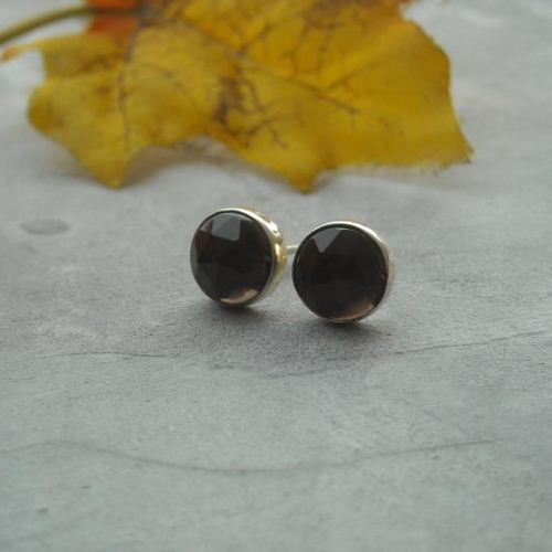 Smoky quartz stud earrings 8mm