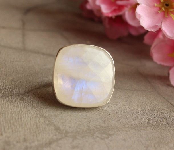 Statement Moonstone ring Cushion ring