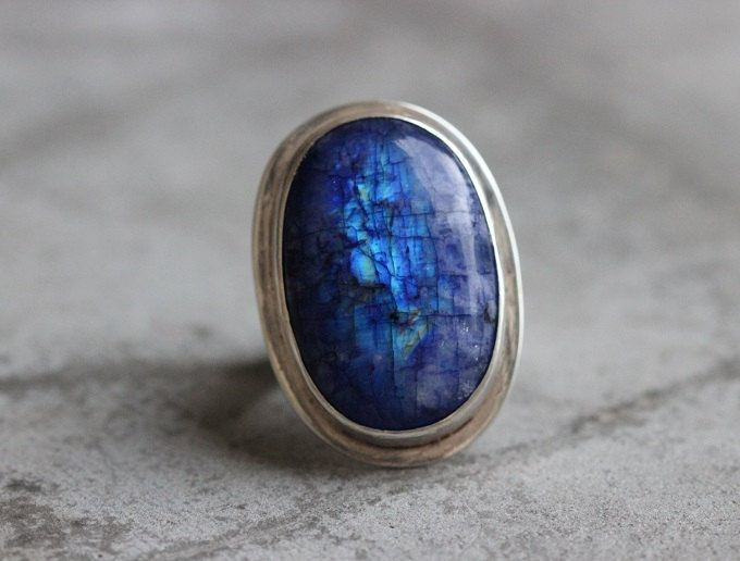 Statement Rainbow Moonstone Ring Blue