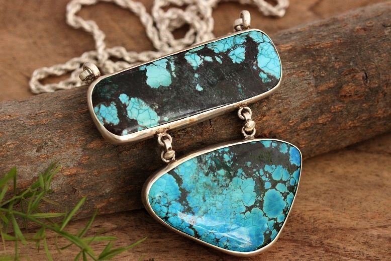 Buy one of a kind handmade large pendants online at astudio1980 large turquoise pendant necklace artisan silver jewelry aloadofball Choice Image