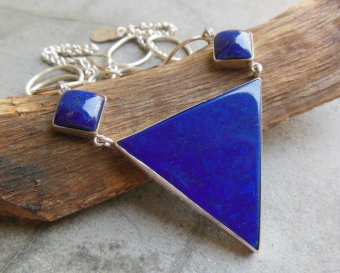 Statement necklace OOAK necklace Lapis