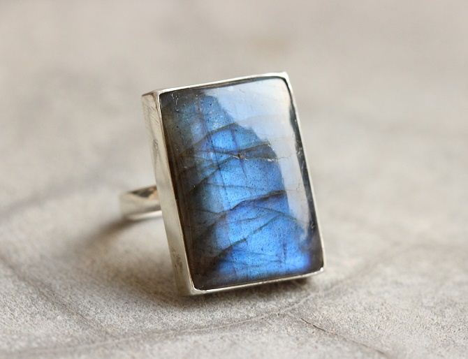 Statement ring Labradorite ring Rectangle