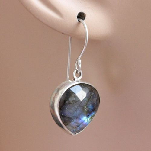 Blue Labradorite Earrings Sterling Silver