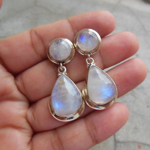 Sterling Silver Rainbow Moonstone Earrings Dangle