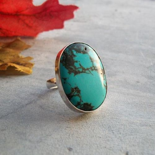 Sterling silver turquoise ring Large