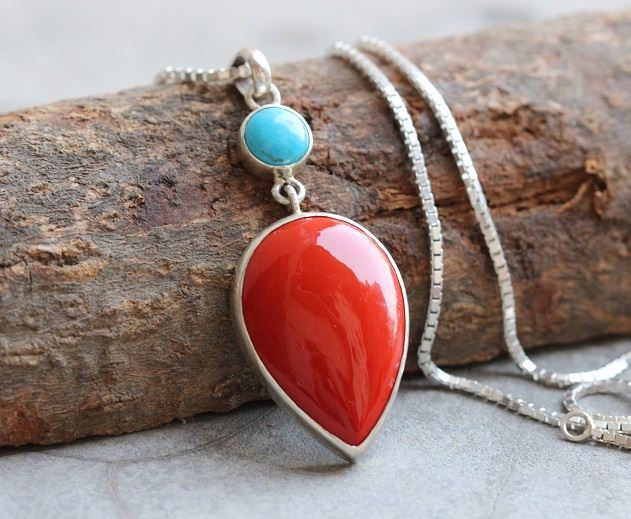 Sterling silver artisan turquoise coral