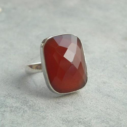 Sterling silver carnelian ring red