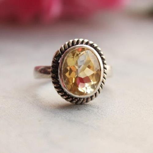 Sterling silver citrine ring Natural