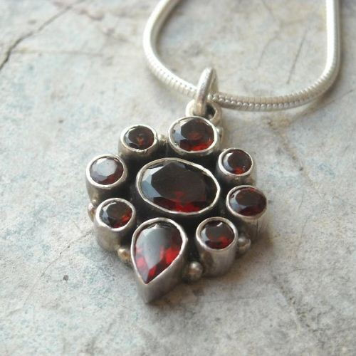 Sterling silver garnet pendant necklace - january birthstone pendant